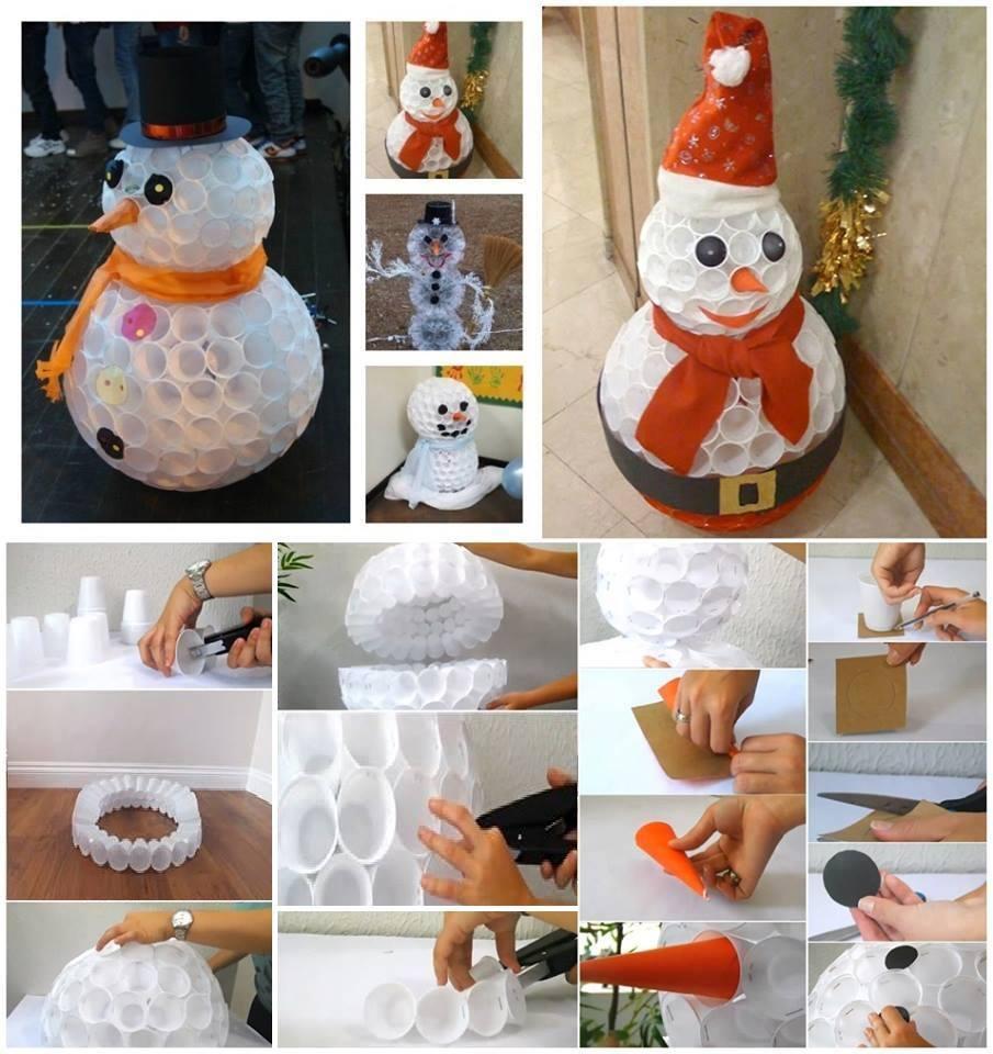 Pupazzo di neve con bicchieri di plastica passionando - Bonhomme de neige verre plastique ...
