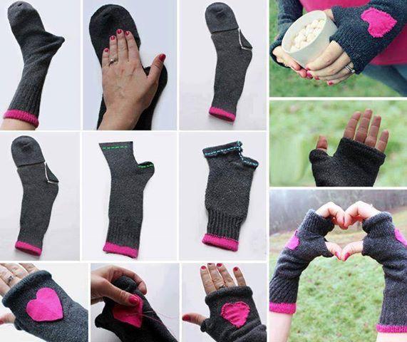 Come fare dei guanti senza dita da un paio di calzini