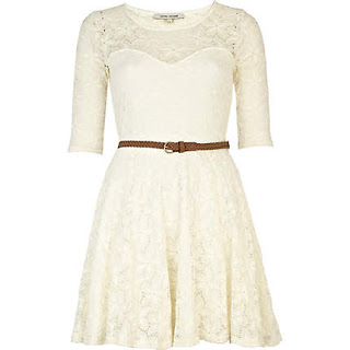 river island cream lace skater dress