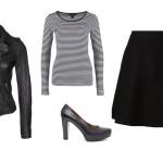 Outfit con maglia a righe bianche e nere casual e sexy