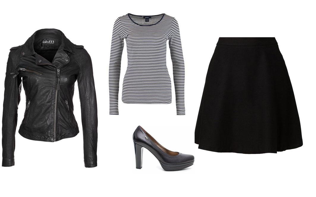 Outfit con maglia a righe bianco e nero casual e sexy