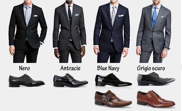 Abito nero scarpe blu